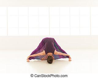 demostración, extensión, actitud del yoga