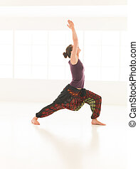 demostración, extensión, postura, yoga