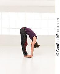 demostración, postura, yoga, elasticity