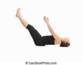 demostración, yoga, avanzado, postura
