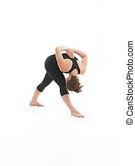 demostración, yoga, retorcer, postura