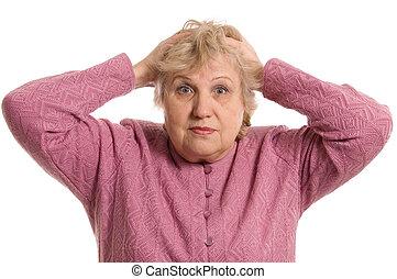 den, äldre kvinna, behåll, för, a, huvud