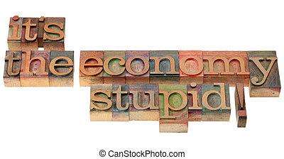 den, økonomi, dum, -, frase, ind, letterpress, type