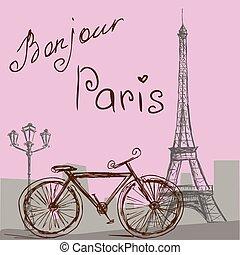 den, affisch, med, den, cykel, in, årgång, style., silhuett, av, den, eiffel, tower.