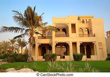 den, arabiska designa, villa, och, palm, under, solnedgång,...