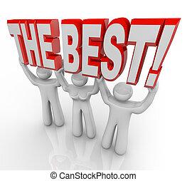 den, bäst, lag, lyftande, ord, topp, vinnare, fira