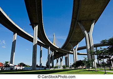 den, båge, av, upphängning, bridge.