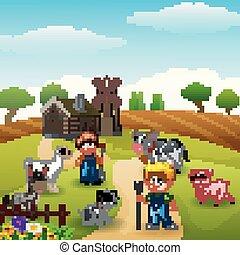den, bönder, hålla, djuren, in, lantgård, hos, morgon