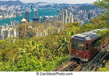 den, bergstopp, spårvagn, hongkong