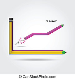 den, blyertspenna, och, graf, ökning, fond