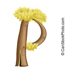 den, brev p, in, den, bilda, av, a, träd