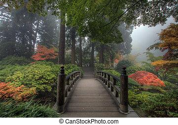 den, bro, in, japanska trädgård