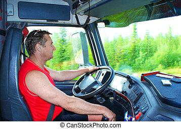 den, chaufför, hjulet, av, den, lastbil
