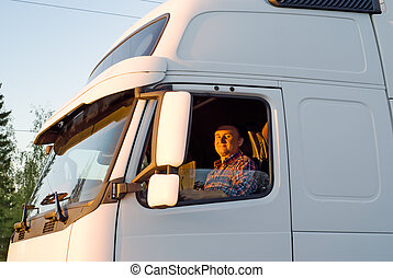 den, chauffør, ind, en, kabine, i, den, lastbil