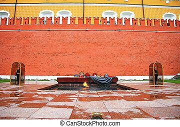 den, den okända soldatens grav, hos, väggen, av, kreml