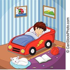 den, dreng, var, sovende, vognen, seng