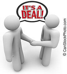 den er, a, furu, folk, köpare, och, säljare, handslag