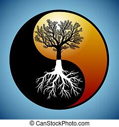 den er, symbol, yin, träd, yang, rötter