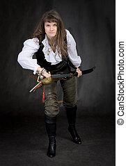 den, flicka, -, sjörövare, med, a, sabel, in, räcker