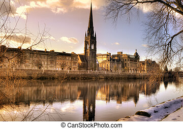 den, flod, tay, ind, perth, scotland