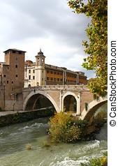 den, flod tiber, ind, rome