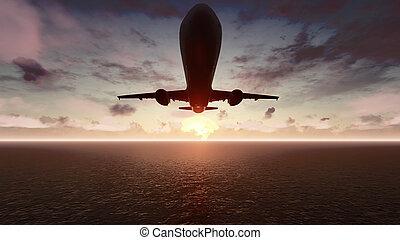 den, flyvemaskine, flyver, hen, den, pacific ocean, hos, sunrise., 3, gengivelse