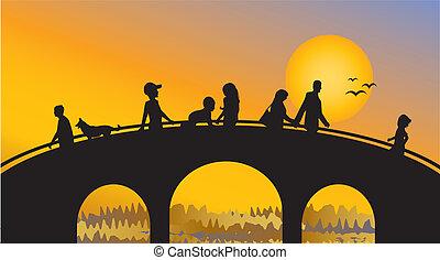 den, folk, på, den, bro, hos, solnedgang