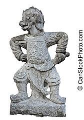 den, forntida, kinesisk, krigare, statues.