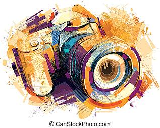 den, gammal, kamera