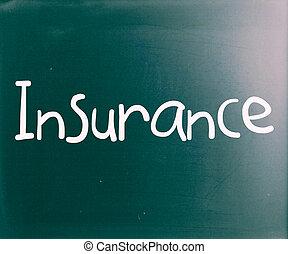 """den, glose, """"insurance"""", handwritten, hos, hvid, kridt, på, en, sort vægtavle"""