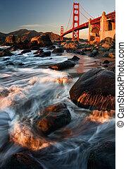 den, gylden låge bro, during, solnedgang
