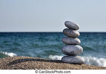 den, hög, av, stenar