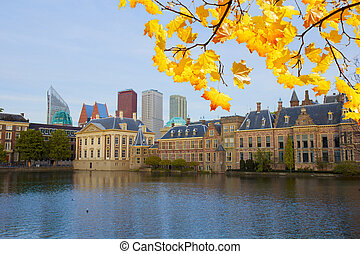 city center of Den Haag - old and new at fall day, Netherlands