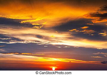 den, himmel, hos, solnedgang