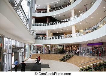 den, indgang, into, den, kommerciel, centrum
