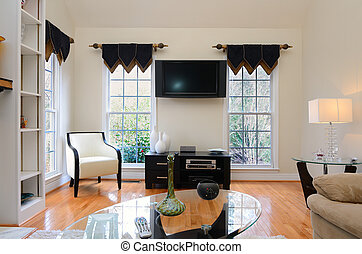 Interior home den with flat screen television