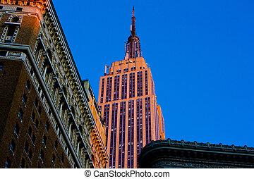 den, kejsardöme tillstånd anlägga, manhattan, new york city,...