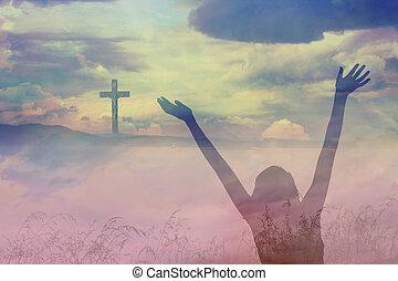 den, kors, av, jesus kristus, och, vacker, skyn