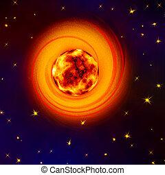 den, kosmisk, nebulosa