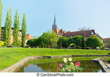 den, kyrka, av, den, helig, kors, wroclaw, polen