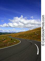 den, länge, och, slingrig road