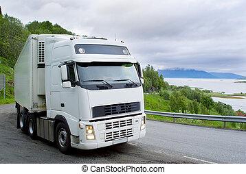 den, lastbil, på, den, norsk, vej