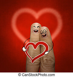 den, lycklig, finger, par, i kärlek, med, målad, smiley