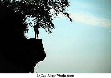 den, man, tänkande, något, för, klippa hoppa