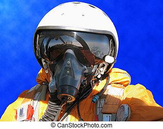 den, militær pilot, ind, den, flyvemaskine