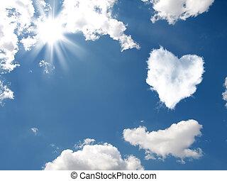 den, moln, in, den, bilda, av, hjärta