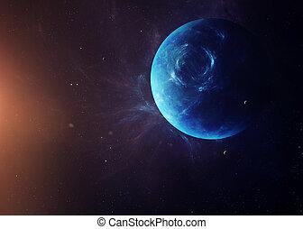 den, neptunus, med, månar, från, utrymme, visande, alla, de,...