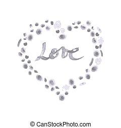 den, ord, kärlek, in, a, hjärta