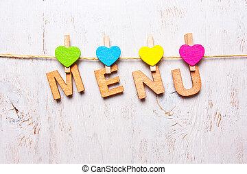 """den, ord, """"menu"""", av, den, trä, breven"""