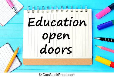 den, ord, utbildning, öppna, dörrar